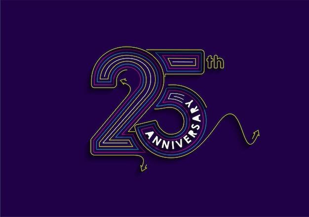 25 anni anniversario celebrazione tipografia disegno vettoriale.