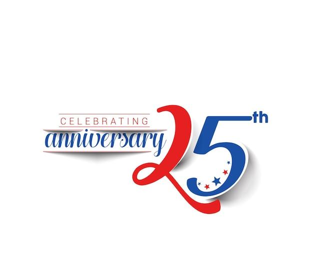 25 anni anniversario celebrazione disegno vettoriale.