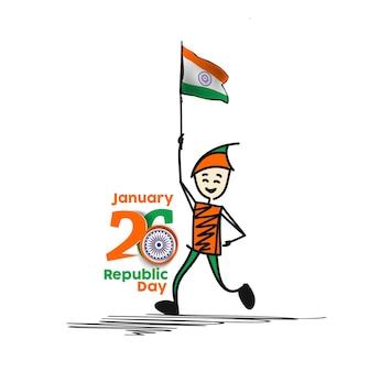 26 gennaio festa della repubblica concetto un ragazzo con la mano che tiene la bandiera indiana Vettore Premium