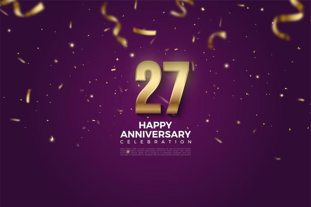 Sfondo del 27 ° anniversario con numeri e goccia di nastro d'oro.