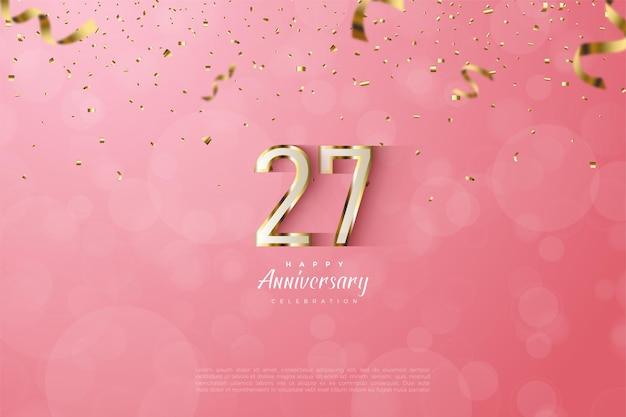 27 ° anniversario con numeri delineati in oro lussuoso.