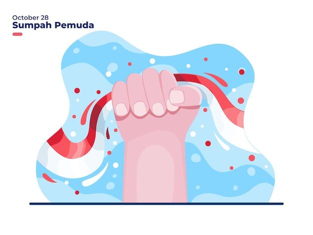 28 ottobre sumpah pemuda o illustrazione della giornata della promessa della gioventù indonesiana