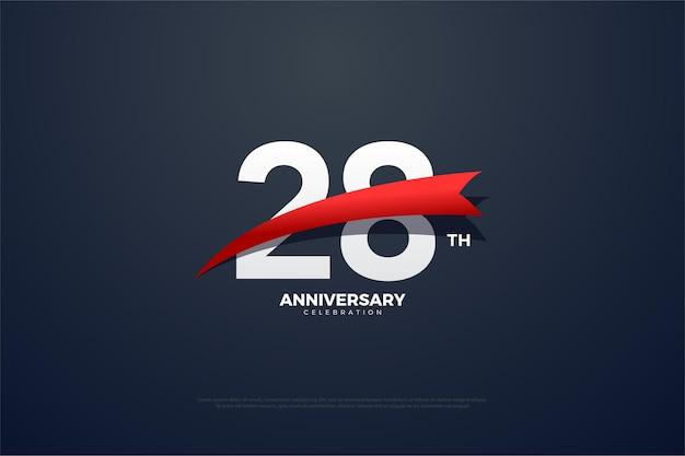 Sfondo del 28 ° anniversario con immagini appuntite rosse