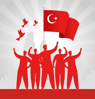 29 ottobre festa della repubblica turchia con persone di gruppo e bandiera