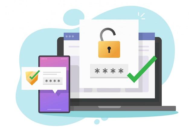 Verifica autenticazione password 2fa autenticazione avviso sicuro o sms con push code messaggio scudo icona nel telefono smartphone e computer portatile piatto