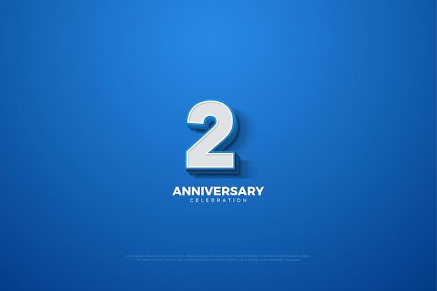 Sfondo del 2 ° anniversario con numero tridimensionale in rilievo