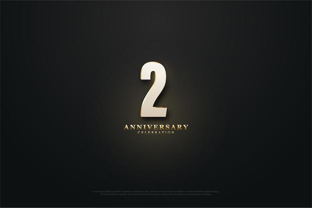 Sfondo 2 ° anniversario con numeri chiari.