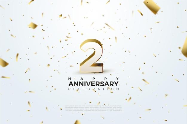 2 ° anniversario su sfondo bianco con macchie d'oro.