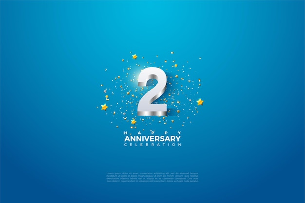 2 ° anniversario con illustrazione di un numero 3d in rilievo in argento scintillante.