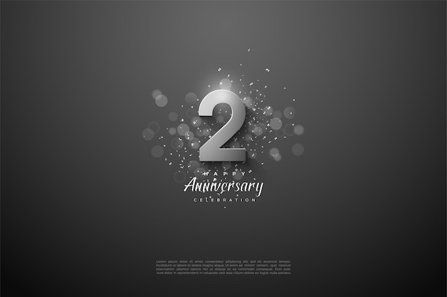 2 ° anniversario con numeri d'argento 3d.