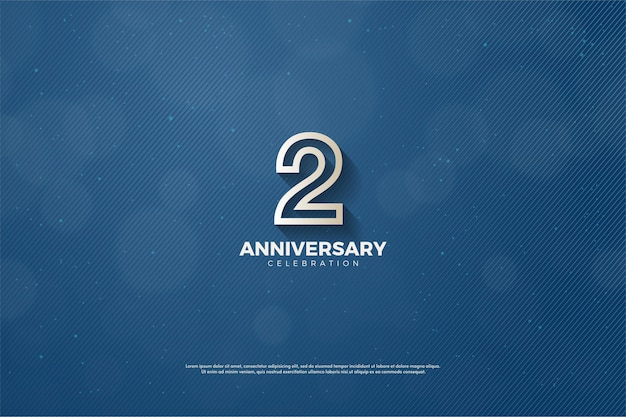 2 ° anniversario con numero delineato marrone su sfondo blu navy.