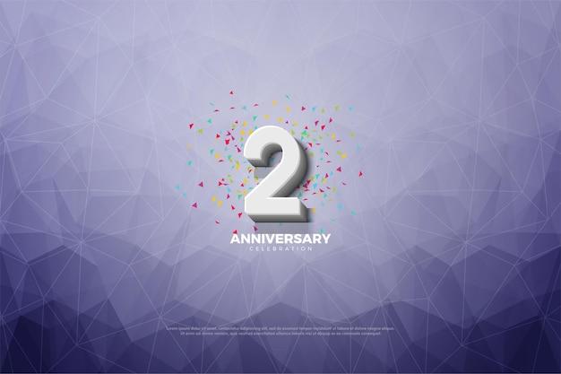 2 ° anniversario con illustrazione di numeri in rilievo su sfondo di carta cristallo.