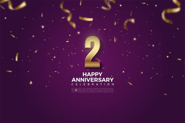 2 ° anniversario con numeri d'oro che cadono e illustrazione del nastro.