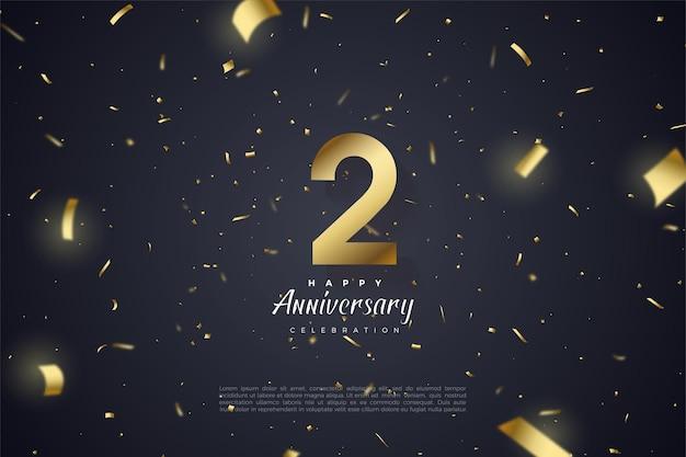 2 ° anniversario con illustrazione del numero d'oro su sfondo nero, cosparsa di carta dorata.