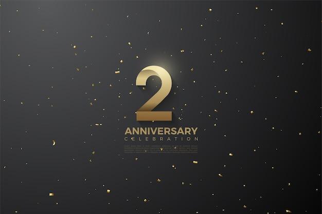 2 ° anniversario con numeri d'oro e punti su sfondo nero.