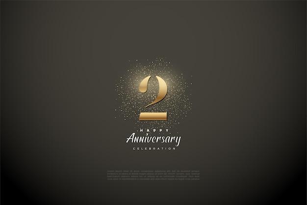 2 ° anniversario con numeri d'oro e glitter su fondo grigio vignetta.