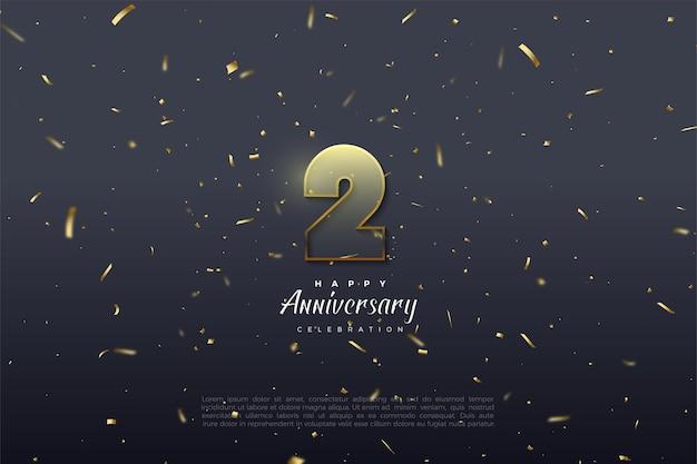 2 ° anniversario con illustrazione del numero delineato marrone dorato.