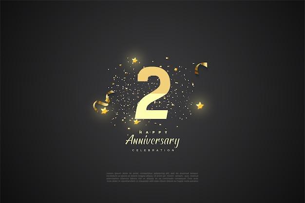 2 ° anniversario con illustrazione di numeri 3d graduati e stella d'oro.