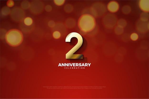 Il 2 ° anniversario con l'illustrazione del numero tagliato dall'ombra in basso.