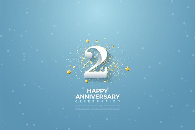 2 ° anniversario con l'illustrazione del numero sul cielo blu.