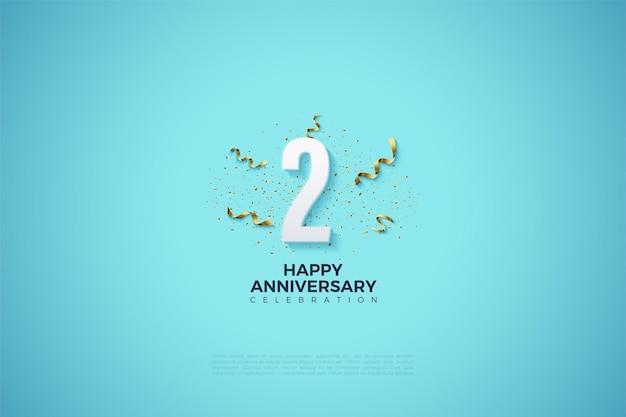 2 ° anniversario con numeri e festa festiva su sfondo blu brillante.