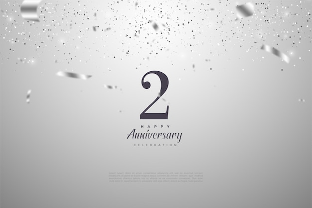 2 ° anniversario con illustrazione del nastro d'argento che fa cadere il numero.