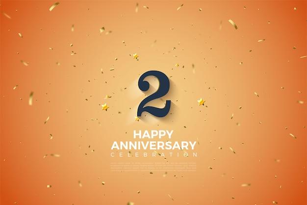 2 ° anniversario con l'illustrazione del numero 3d ombreggiata bianca morbida.