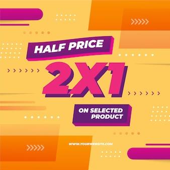 Banner modello di promozione 2x1