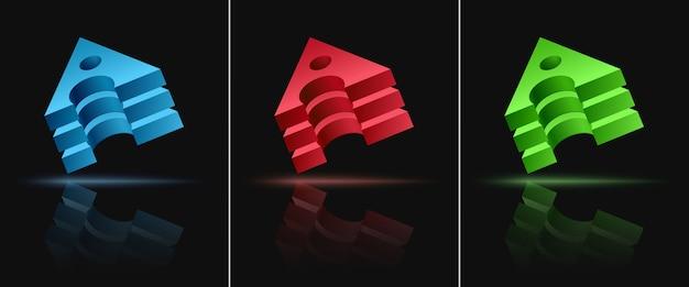 Lettera triangolare 3-d un logo emblema modello stilizzato design Vettore Premium