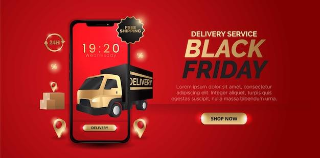 Design tridimensionale con il tema del servizio di consegna del black friday