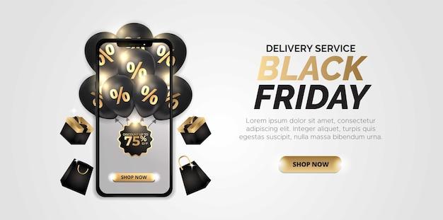 Design tridimensionale con il tema dello shopping online del black friday