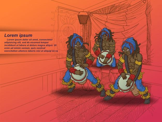 3 batterista con sfondo club in stile schizzo.