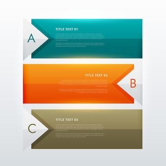 Tre passi moderno modello di progettazione infografica colorato per la presentazione del flusso di lavoro aziendale
