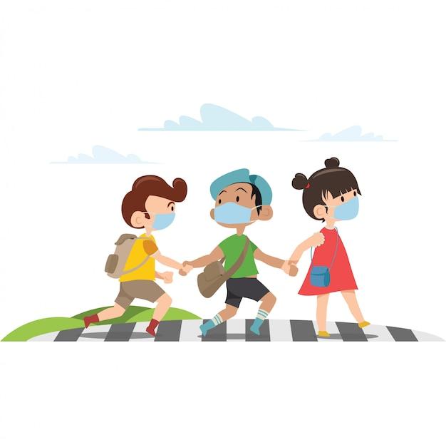 3 bambini stanno attraversando la strada insieme illustrazione