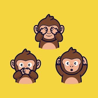 3 scimmie cartone animato chiudere bocca occhio e orecchio illustrazione vettoriale
