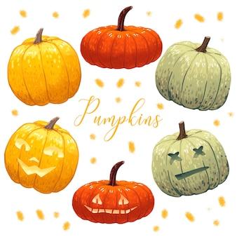 3 zucche normali più le zucche di halloween arancioni e verdi
