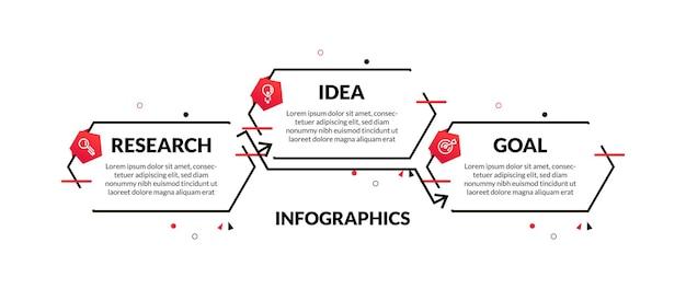 Infografica in 3 fasi con lunga linea minimale esagonale e decorazioni in stile memphis. perfetto per presentazioni, diagrammi di processo, flussi di lavoro e banner