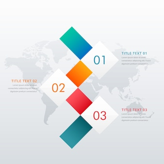 Modello di progettazione infografica a tre passi creativi per diagrammi di flusso di lavoro aziendali