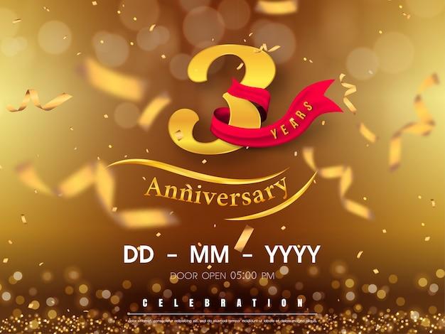 Modello di logo di anniversario di 3 anni su oro