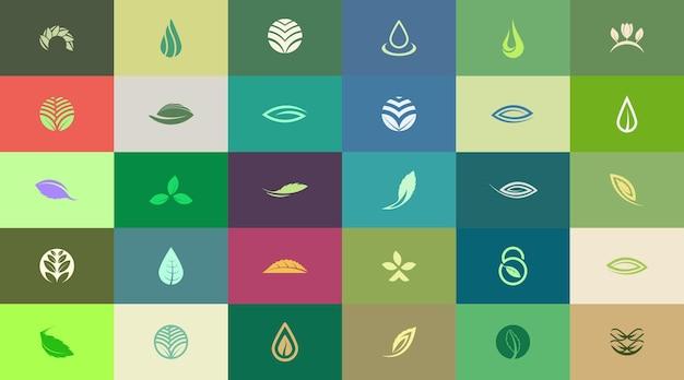 30 modelli di design del logo a tema naturale astratto e creativo