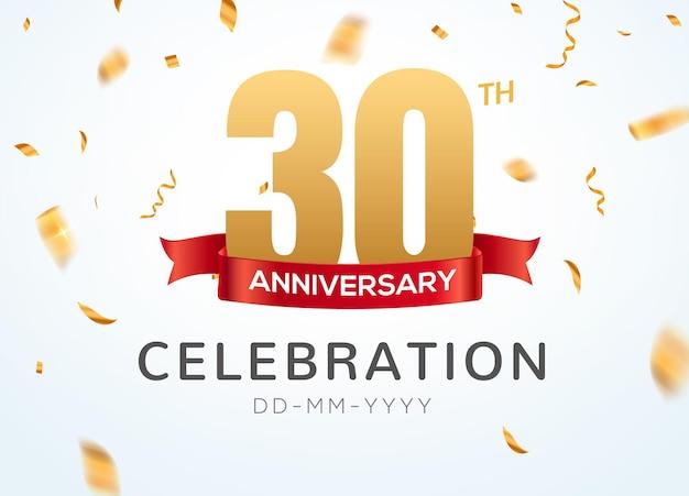 Numeri d'oro del 30 anniversario con coriandoli dorati. modello di festa per eventi di celebrazione del 30 ° anniversario.