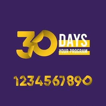 Illustrazione di progettazione del modello di programma di 30 giorni
