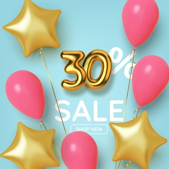 Vendita promozionale di 30 sconti fatta di numeri d'oro 3d realistici con palloncini e stelle. numero sotto forma di palloncini dorati.