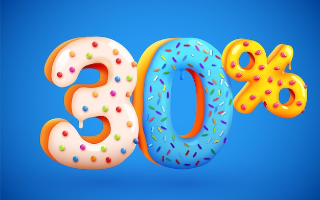 30 percento di sconto sulla composizione di dessert 3d mega simbolo di vendita con numeri di ciambelle dolci volanti