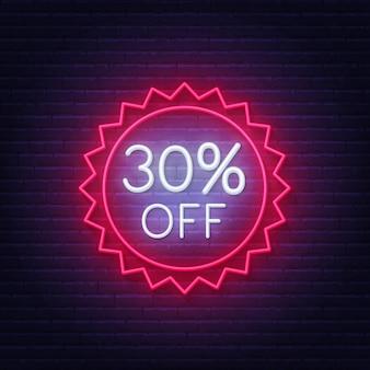 30 percento di sconto sull'insegna al neon