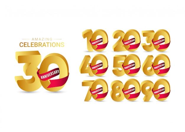 Illustrazione stupefacente di progettazione del modello dell'oro di celebrazione di anniversario di 30 anni