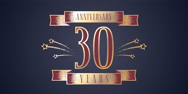 Celebrazione dell'anniversario di 30 anni con numero d'oro e fuochi d'artificio a spirale