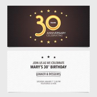 Illustrazione vettoriale di invito per l'anniversario di 30 anni