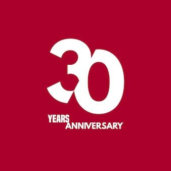 Icona di vettore di 30 anni anniversario, logo. elemento di design con composizione di cifre e testo per il 30° anniversario