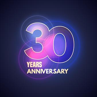 Icona di vettore di 30 anni anniversario, logo. elemento di design grafico con bokeh per il 30° anniversario